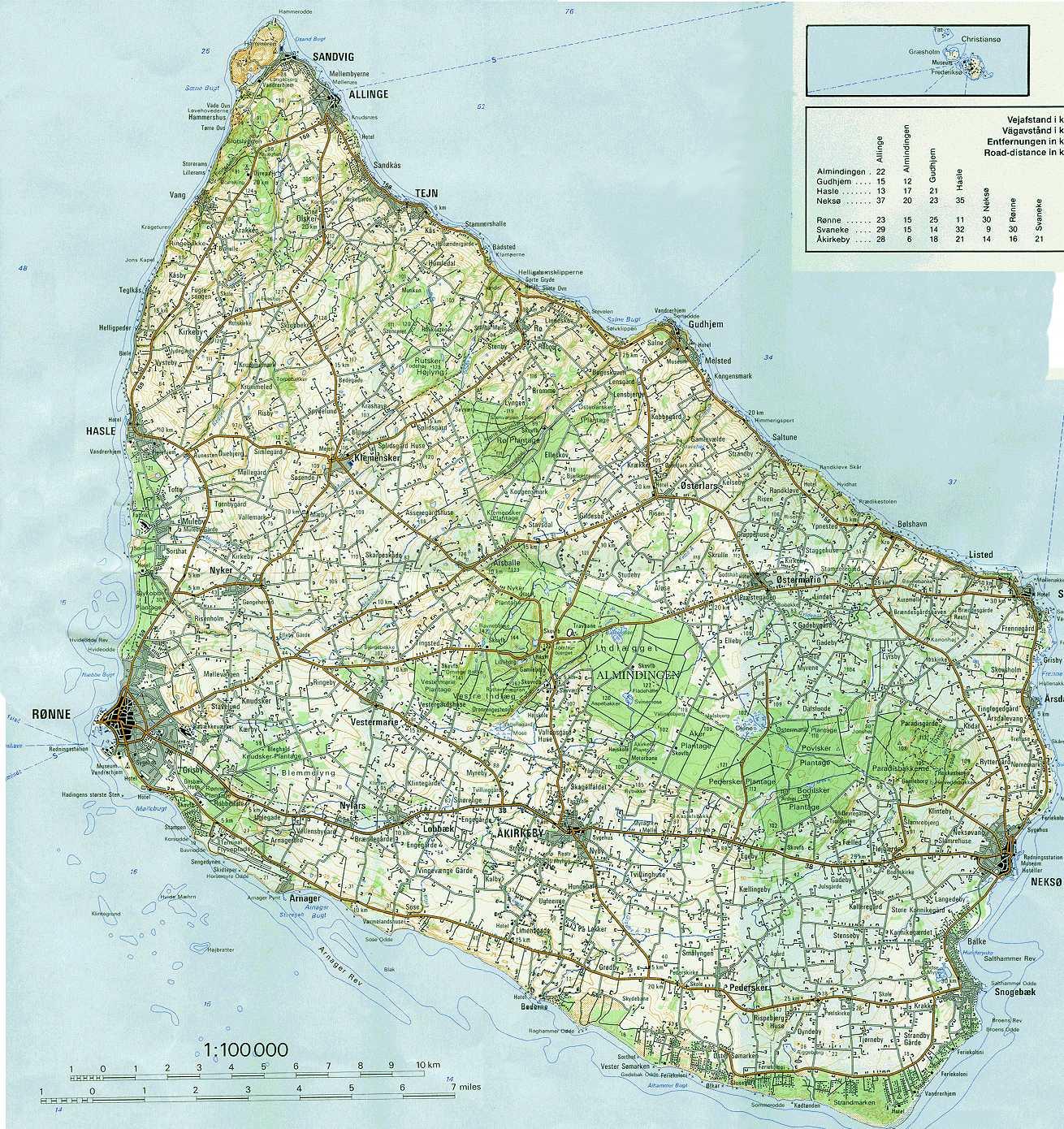 Geografiske Kort Over Bornholm